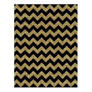 Golden Chevrons Chic Elegant Print Postcard