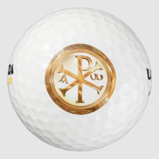 Golden Chi Rho Sign Pack Of Golf Balls