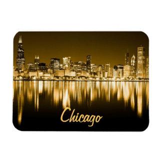 golden Chicago skyline magnet