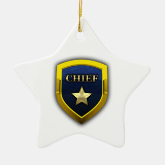 Golden Chief Badge Ceramic Ornament