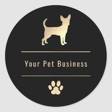 Professional Business golden chihuahua pet business logo classic round sticker