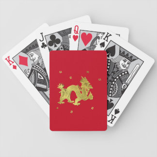 Golden Chinese Dragon Bicycle Playing Cards