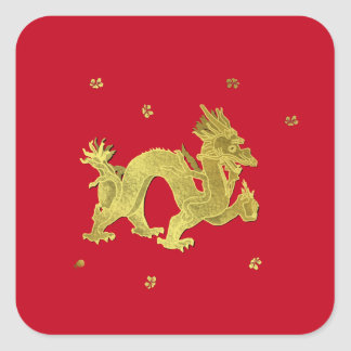 Golden Chinese Dragon Square Sticker