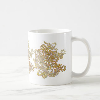 Golden Chinese Dragons on Classic White Mug