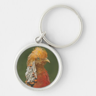 Golden/Chinese Pheasant Keyring/Keychain Silver-Colored Round Keychain