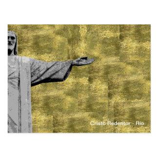 Golden Christ the Redeemer - Rio - Brasil Postcard