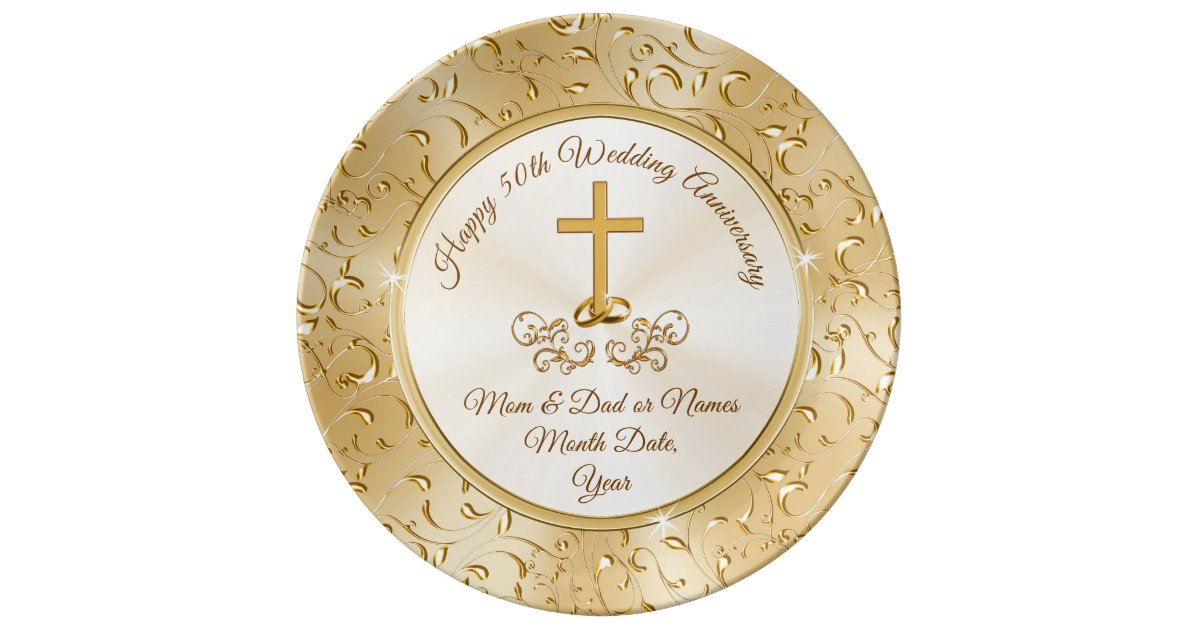 Golden Christian Cross 50th Anniversary Gifts Dinner Plate Zazzle Com