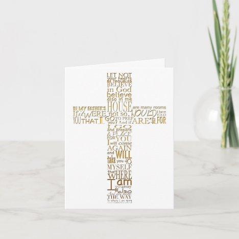 Golden Christian Cross John 14  Sympathy Thank You