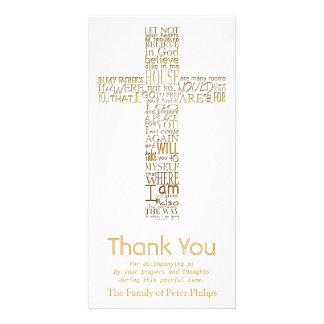 Golden Christian Cross John 14  Sympathy Thank You Photo Cards
