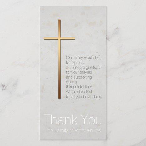 Golden Christian Cross Modern Sympathy Thank You