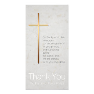 Golden Christian Cross Modern Sympathy Thank You Photo Greeting Card