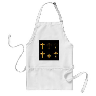 golden christian crosses in different designs adult apron