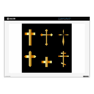 "golden christian crosses in different designs decal for 17"" laptop"
