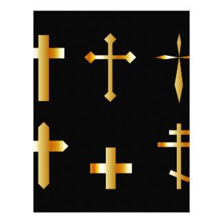golden christian crosses in different designs letterhead