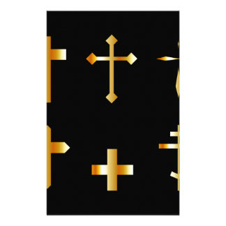 golden christian crosses in different designs stationery