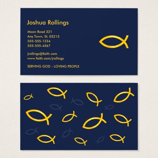 Golden Christian Fish   Inspirational Business Card