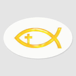 Golden Christian Fish Symbol with Crucifix Oval Sticker