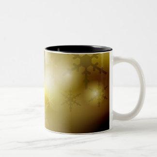 Golden Christmas Background Two-Tone Coffee Mug