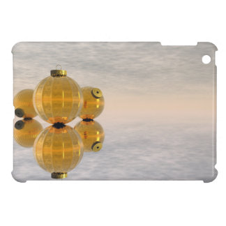 Golden Christmas balls - 3D render Cover For The iPad Mini