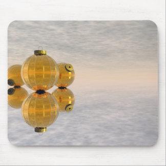 Golden Christmas balls - 3D render Mouse Pad