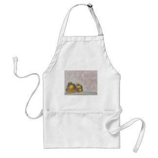 Golden Christmas balls on the snow Adult Apron