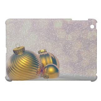 Golden Christmas balls on the snow Case For The iPad Mini