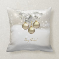 Golden Christmas Balls & Silver Pine Tree Branches Throw Pillow