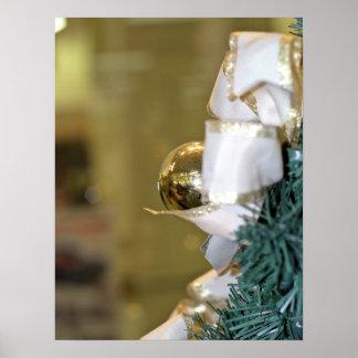 Golden christmas bauble poster