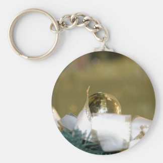 Golden Christmas Bauble With White Ribbon Keychain