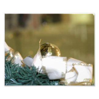 Golden Christmas Bauble With White Ribbon Photo Print