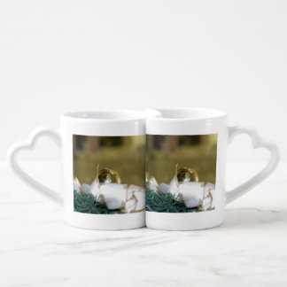 Golden Christmas Bauble With White Ribbon Couples' Coffee Mug Set
