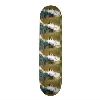Golden Christmas Bauble With White Ribbon Skateboard Deck