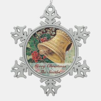 Golden Christmas Bell Snowflake Pewter Christmas Ornament