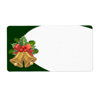 Golden Christmas Bells and Holly Shipping Label