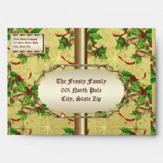 Golden Christmas Bells Envelopes