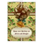 Golden Christmas Bells Greeting Cards