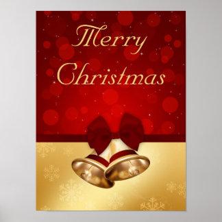 Golden Christmas Bells - Poster Print