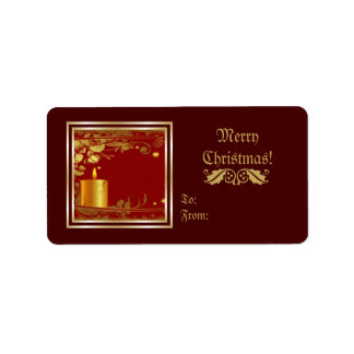 Golden Christmas Candle And Flowers Custom Product Personalized Address Label