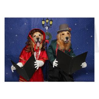 Golden Christmas Carolers Card