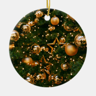 Golden Christmas Ceramic Ornament