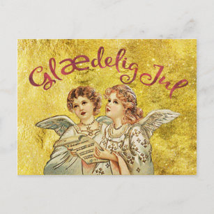 Vintage danish christmas cards greeting photo cards zazzle golden christmas danish greetings holiday postcard m4hsunfo