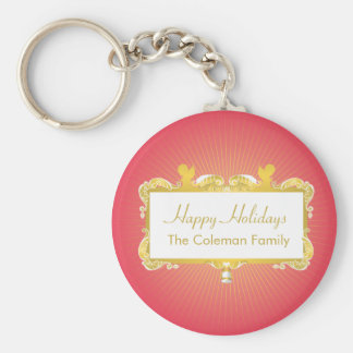 GOLDEN CHRISTMAS FRAME ANGELS RED BASIC ROUND BUTTON KEYCHAIN