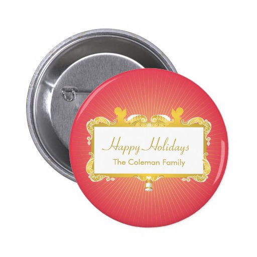 GOLDEN CHRISTMAS FRAME ANGELS RED PINBACK BUTTON