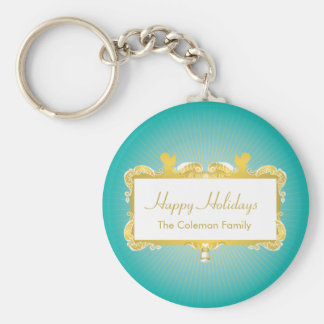 GOLDEN CHRISTMAS FRAME WITH ANGELS BASIC ROUND BUTTON KEYCHAIN