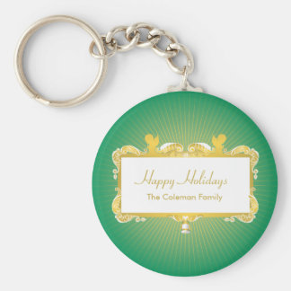 GOLDEN CHRISTMAS FRAME WITH ANGELS GREEN BASIC ROUND BUTTON KEYCHAIN