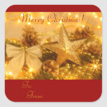 """Golden Christmas"" Gift Tag Sticker"