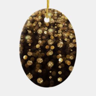 Golden Christmas Glitter Sparkles Double-Sided Oval Ceramic Christmas Ornament