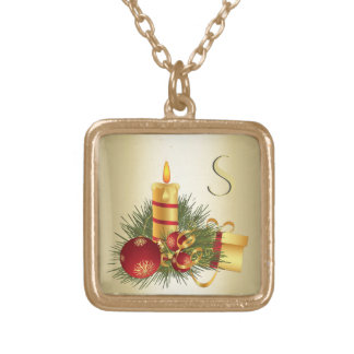 Golden Christmas Initial Gold Plated Necklace
