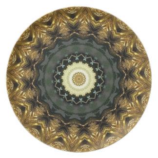 Golden Christmas Kaleidoscope Plate