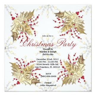 Golden Christmas Mistletoe Holiday Party Invite